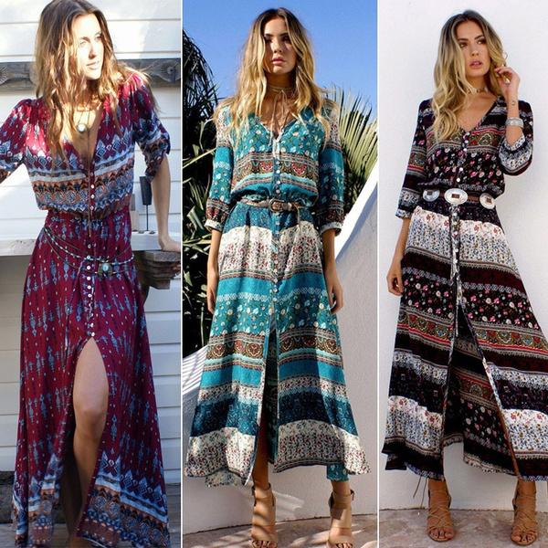 Fashion, Floral print, hippie, long dress