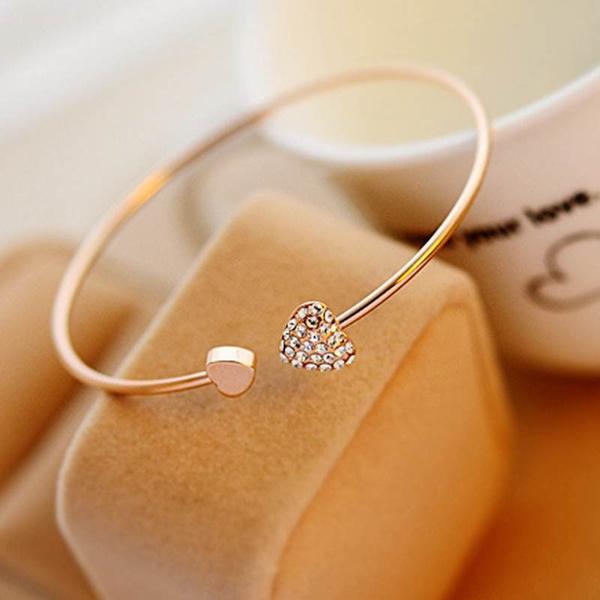 Charm Bracelet, goldplated, Love, doubleheartbracelet