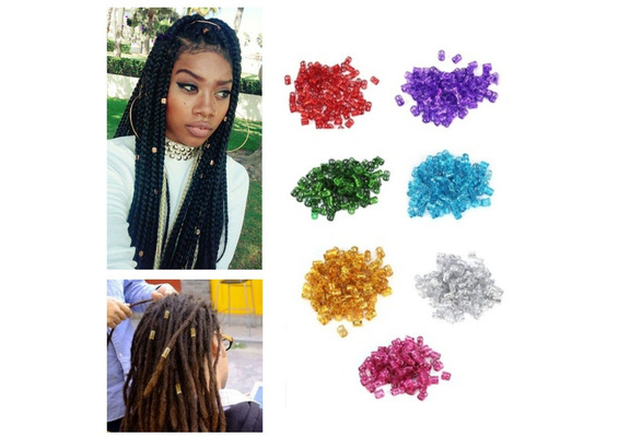 50x Adjustable Dreadlock Metal Hair Braid Cuff Tube Beads Rasta Wrap-Many color