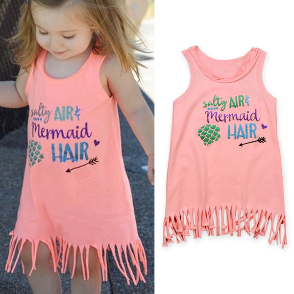 Kids Baby Girls Mermaid Hair Sundress Party Summer Tops Vest Beach Dress Outfits
