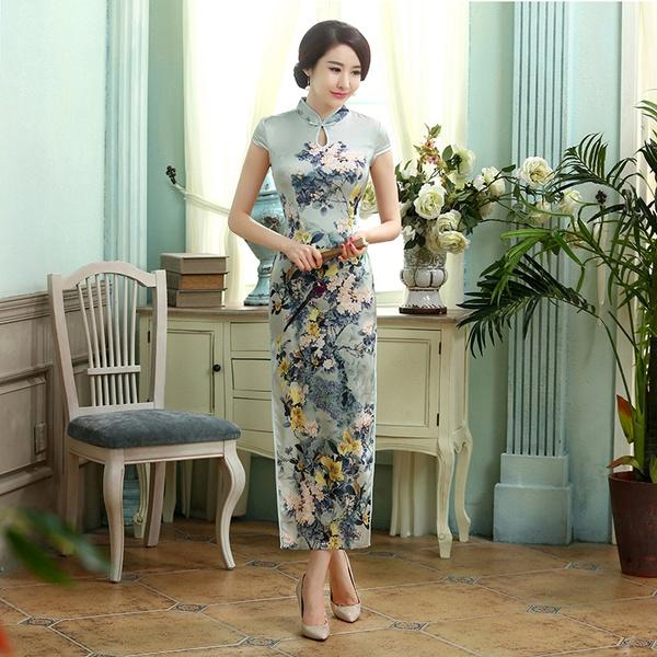 dress slim, Chinese, Elegant, cheongsam