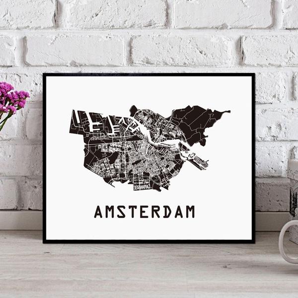 citymapofamsterdam, citymap, Wall Art, Home Decor