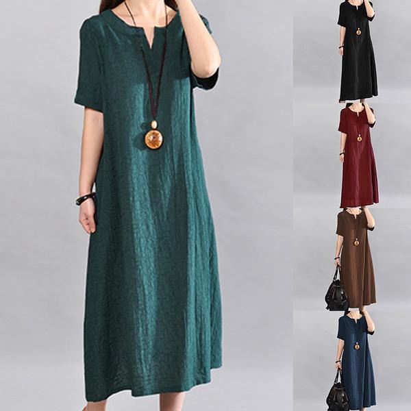 Summer, short sleeve dress, Cotton, Sleeve