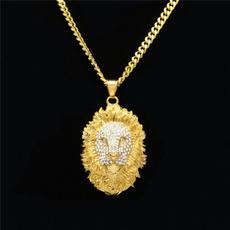 mens necklaces, Head, 18kgoldchain, fashiongift