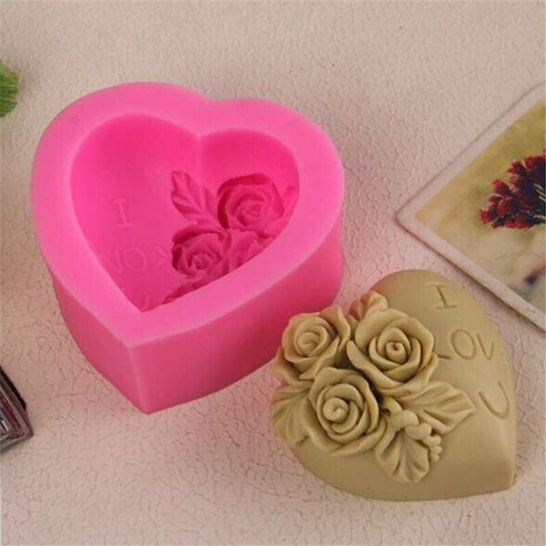 Heart, Baking, Silicone, Rose
