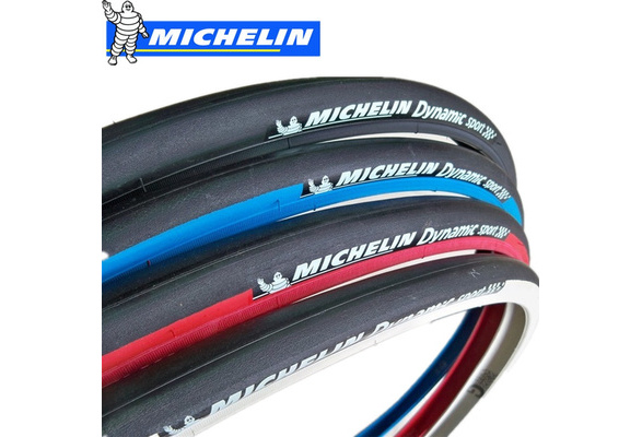 Pneu vélo slick MICHELIN Dynamic sport Bike tire 700 x 23 noir bleu blanc rouge