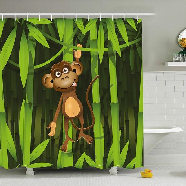 Jungle Decor Shower Curtain Wildlife, Wildlife Bathroom Decor