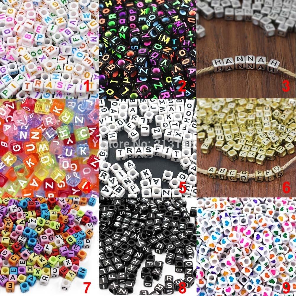 100p Spacer Acrylic Beads DIY Cube Making Loose Mixed Alphabet Jewelry T1U9