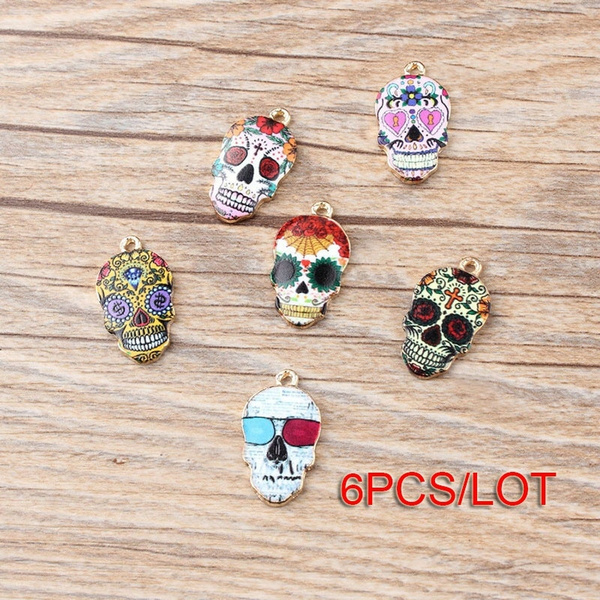 crafting, pendantcharm, enamel, skull