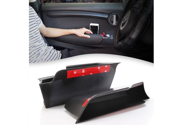 Areyourshop Black Interior Door Armrest Storage Box Organizer Holde Tirm For MINI Cooper F55