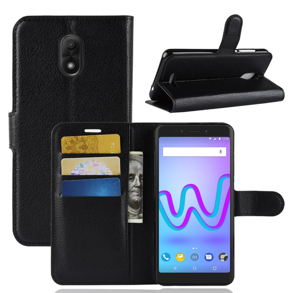 Wiko Jerry 3 Coque, Wiko Jerry3 Case, Classical Litchi PU Leather Wallet Case Card Slots Pockets Folding Stand Folio Flip Cover Durable Shockproof ...