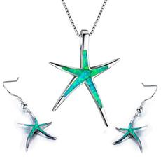 Sterling, opalearring, starfish, Stud Earring