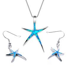 Sterling, bluefireopal, opalearring, starfish