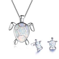 Turtle, cute, Chain Necklace, opalearring
