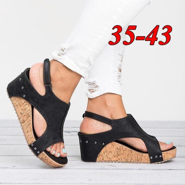 beach shoes, Plus Size, Women Sandals, wedge