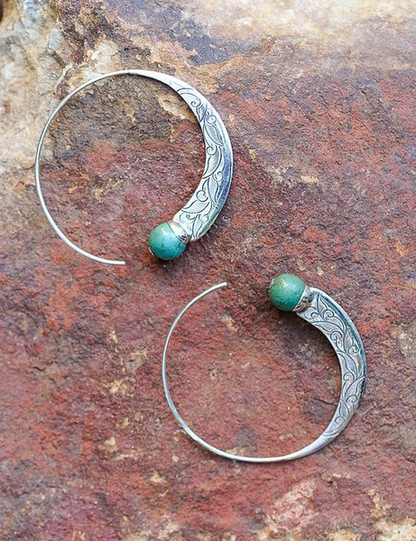 Antique, Sterling, Turquoise, dangleearing