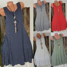 Summer, Plus Size, Dress, polka dot