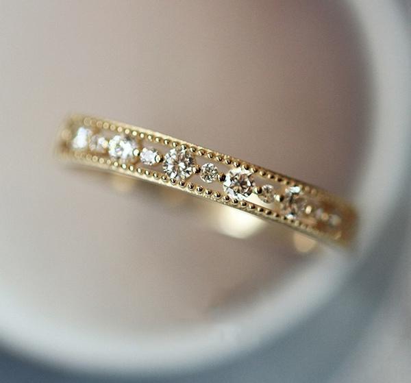 goldplated, cute, DIAMOND, wedding ring