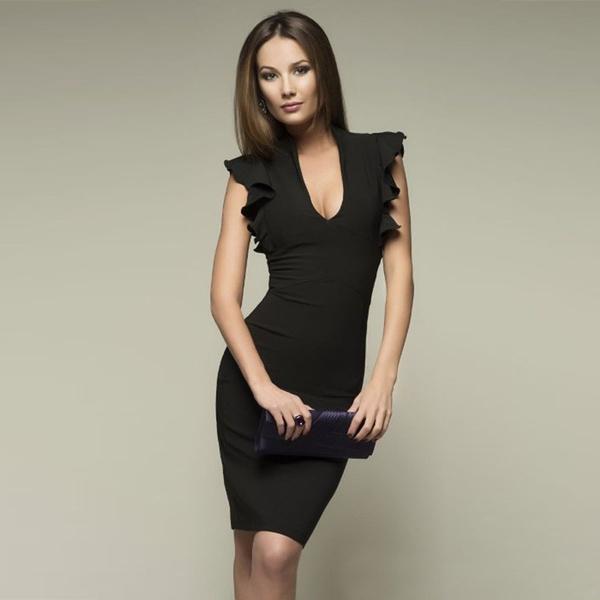 pencil, V Collar, short sleeve dress, bodyconpencildres