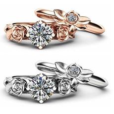 platinum, crystal ring, Jewelry, flowershapedring