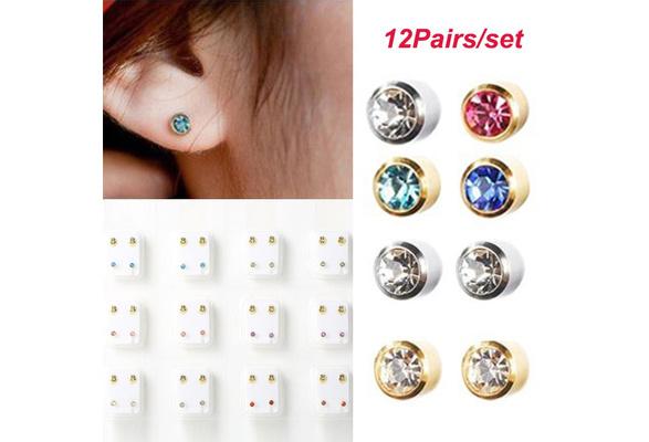 For Ear Piercing Earrings 12 Pairs Piercing Kit 4mm Gun Tool Rhinestone