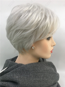 Fashion, wigsforwomen, shortgreywig, hair