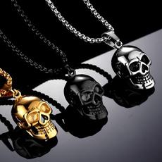 Steel, skullnecklace, 18k gold, punk necklace