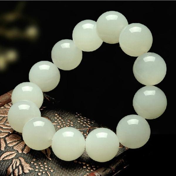 Jewelry, magnetichealthbracelet, whitejadebracelet, jade
