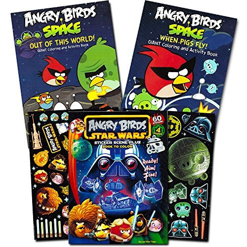 Angry Birds Coloring Book Super Set With 60 Angry Birds Stickers -- 3 Jumbo  Books (Angry Birds Star Wars, Bad Piggies) Wish