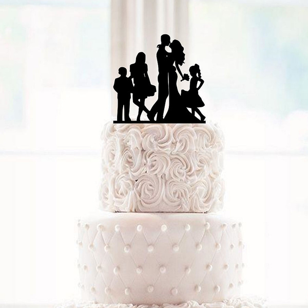 Silhouette Dancing Bride And Groom Wedding Cake Topper With A Children Groom Dancing Cake Topper Family Kids Son Daugther Family Silhoue Wish