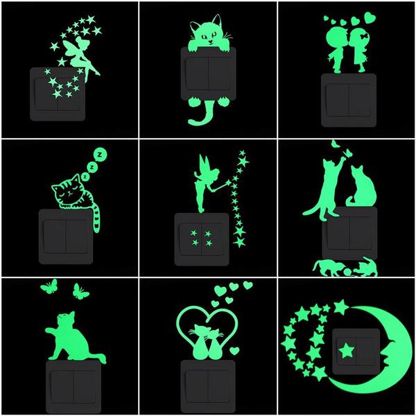 switchsticker, Home Decor, glowinthedarkwallsticker, Stickers