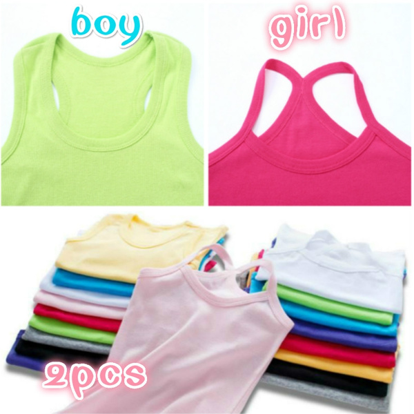 2pcs Children's Clothes Girl Boys Vests Underwear Kids Camisoles Tank Tops  Summer Solid Color Cotton Soft Tanks For Toddler Tees T-shirt   Wish
