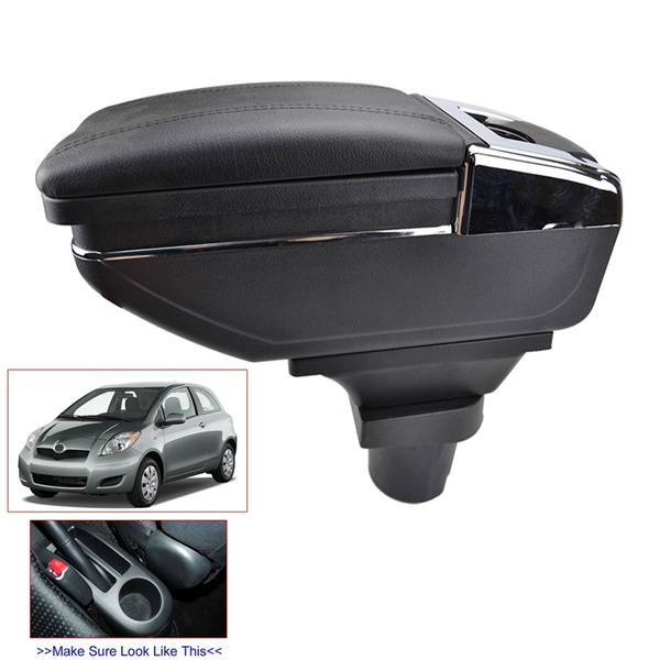 Car Armrest Box Center Console for Toyota Yaris 2006 2007 2008 2009 2010 2011 Rotatable Single Layer Black Arm Rest Storage Box with Cup Holder Ashtray Armrests Color : Grey