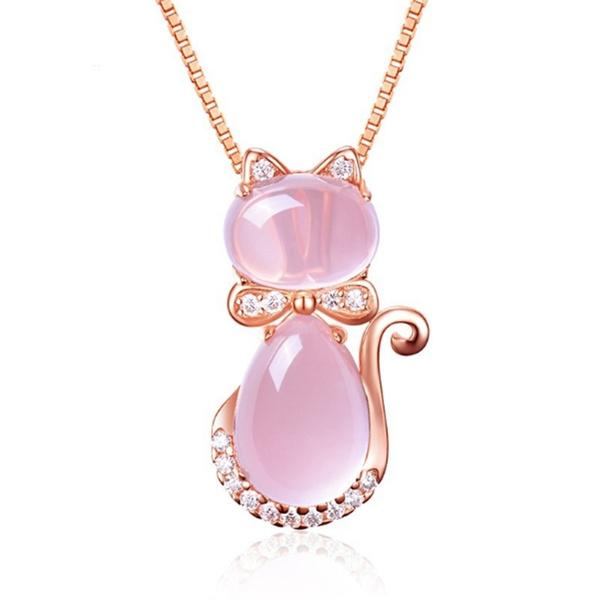 pink, cute, quartz, gemstonenecklace