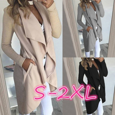 Turn-down Collar, Casual Jackets, Plus Size, Sleeve