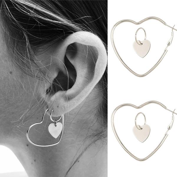 Heart, Hoop Earring, punk earring, Jewelry
