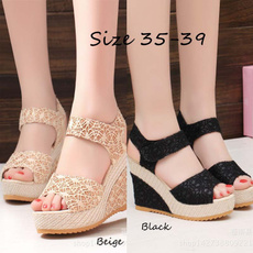 wedge, Sandals, Lace, Womens Shoes