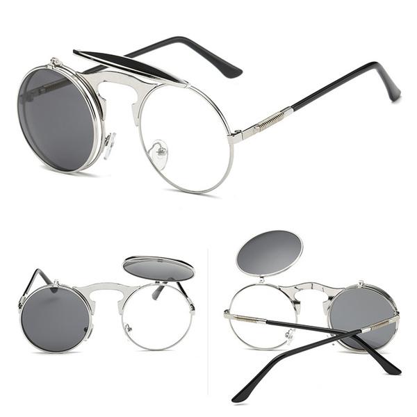 retroflipuproundsunglasse, Fashion Sunglasses, Steampunk, Metal