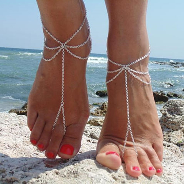 Sandals, Womens Shoes, ankletharnes, barefootjewelry