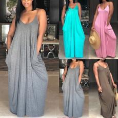 Summer, Loose, Halter, long dress