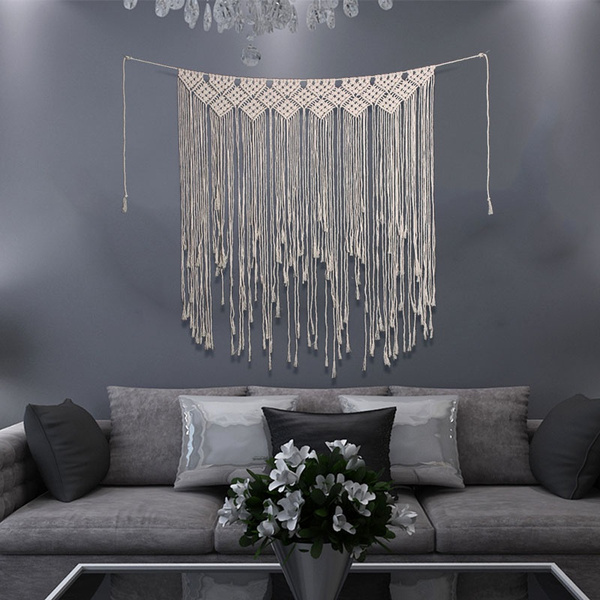 Decor, knitted, wallhangingtapestry, knittedtasseltapestry