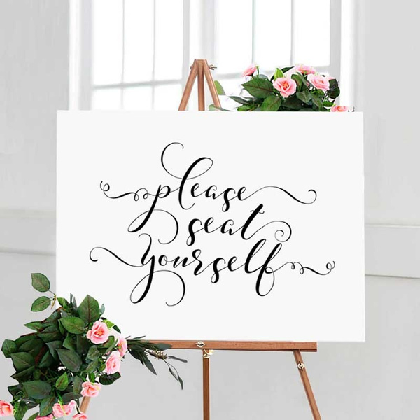 Please Seat Yourself Sign Bathroom Wall Decor Wall Art Wedding Table Art Calligraphy Restaurant Decor Bathroom Sign Bridal Shower Decor Wish