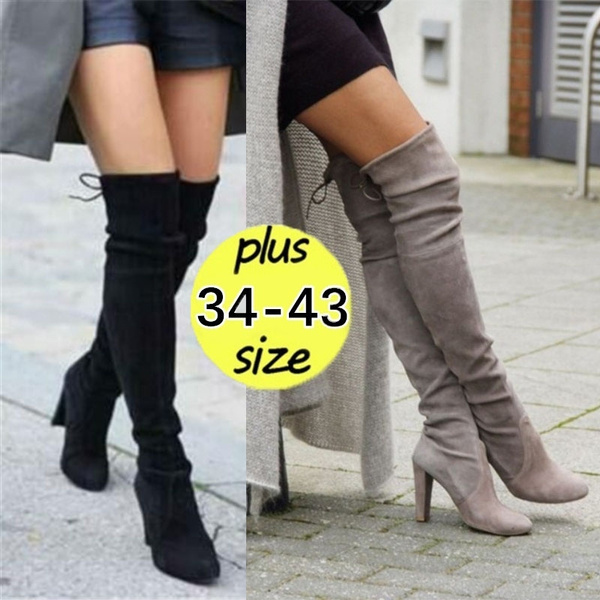 New Women S Over Knee High Boot Lace Up Stretch Slim Thigh High Heel Long Thigh Boots Shoes Plus Size 35 43 Wish