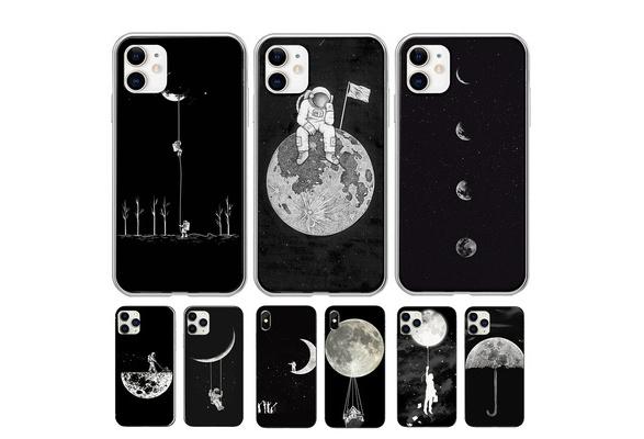 Téléphone 11 Coque d'automne Iphone 11 Le plus récent motif d'astronaute de la lune de l'espace Coques de téléphone noires pour Iphone11 XR XSMAX ...