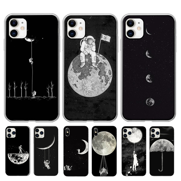 Phone 11 Fall Coque Iphone 11 Newest Space Moon Astronaut Pattern Black Phone Cases for Iphone11 XR XSMAX 11MAX 7 8 Case for Iphone 7plus 8Plus ...