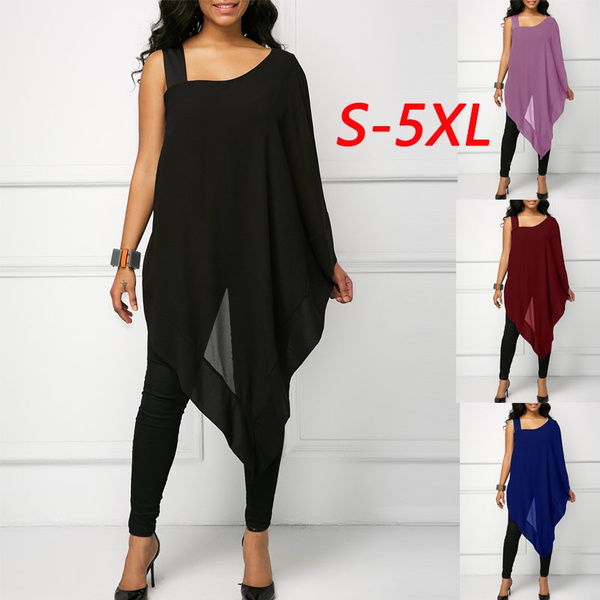 blouse, Plus Size, one-shoulder, Women's Fashion