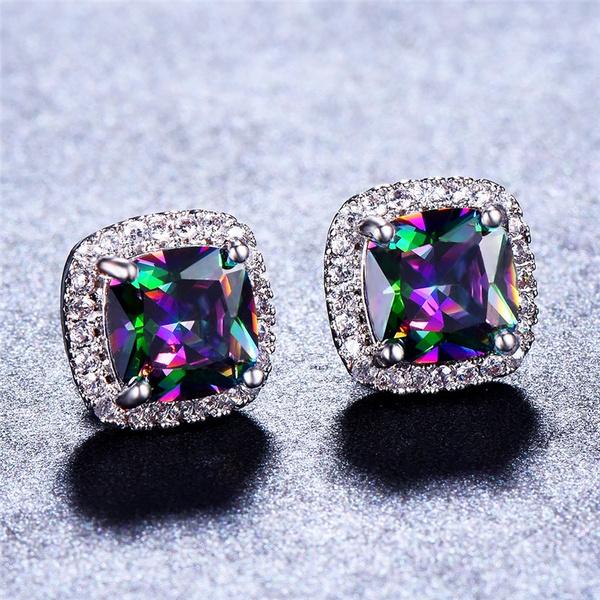 Sterling, rainbow, Stud, Jewelry