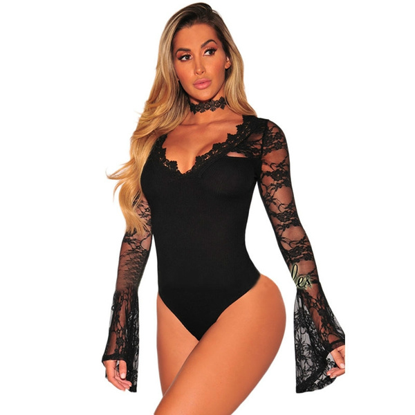 Lace, blacklacelongsleevebodysuit, Long Sleeve, black lace