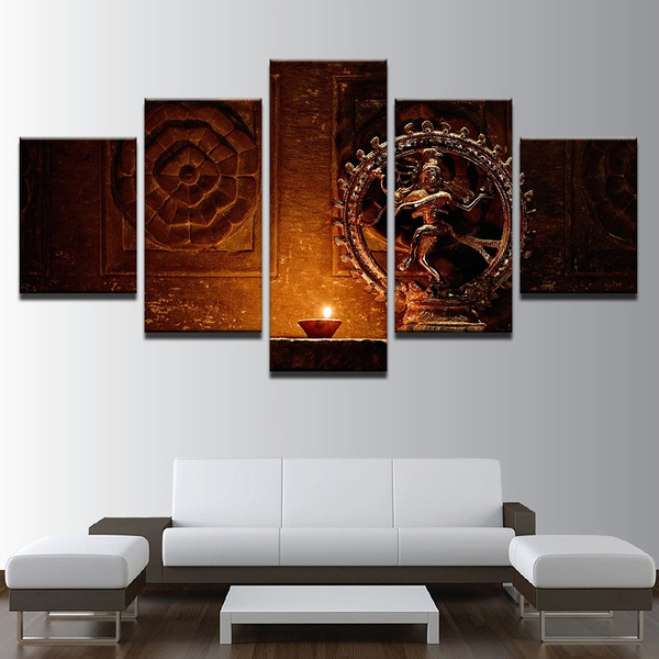 5 Pieces Canvas Paintings Wall Art Shiva Nataraja Statue Poster India God Vintage Pictures Living Room No Frame Wish
