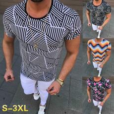 Summer, slim, menprintshirt, Ejercicio